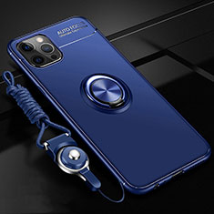 Ultra-thin Silicone Gel Soft Case Cover with Magnetic Finger Ring Stand N03 for Apple iPhone 12 Pro Blue