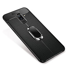 Ultra-thin Silicone Gel Soft Case Cover with Magnetic Finger Ring Stand S01 for Samsung Galaxy A6 Plus Black