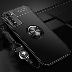 Ultra-thin Silicone Gel Soft Case Cover with Magnetic Finger Ring Stand T01 for Huawei Honor Play4 5G Black