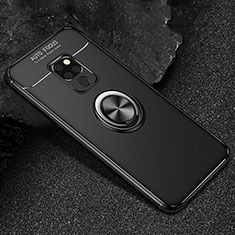 Ultra-thin Silicone Gel Soft Case Cover with Magnetic Finger Ring Stand T01 for Huawei Mate 20 Black