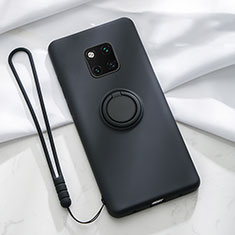 Ultra-thin Silicone Gel Soft Case Cover with Magnetic Finger Ring Stand T01 for Huawei Mate 20 Pro Black