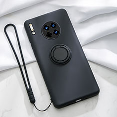Ultra-thin Silicone Gel Soft Case Cover with Magnetic Finger Ring Stand T01 for Huawei Mate 30 Pro 5G Black