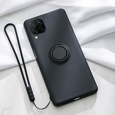 Ultra-thin Silicone Gel Soft Case Cover with Magnetic Finger Ring Stand T01 for Huawei P40 Lite Black