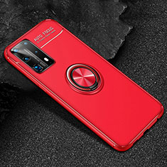 Ultra-thin Silicone Gel Soft Case Cover with Magnetic Finger Ring Stand T01 for Huawei P40 Pro+ Plus Red