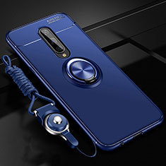 Ultra-thin Silicone Gel Soft Case Cover with Magnetic Finger Ring Stand T01 for OnePlus 8 Blue