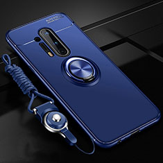 Ultra-thin Silicone Gel Soft Case Cover with Magnetic Finger Ring Stand T01 for OnePlus 8 Pro Blue