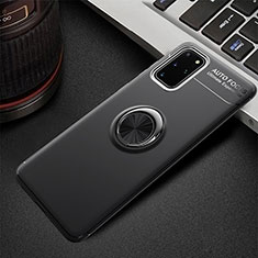 Ultra-thin Silicone Gel Soft Case Cover with Magnetic Finger Ring Stand T01 for Samsung Galaxy S20 Plus 5G Black