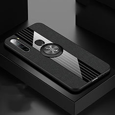 Ultra-thin Silicone Gel Soft Case Cover with Magnetic Finger Ring Stand T01 for Xiaomi Redmi Note 8 Black