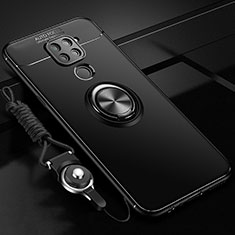 Ultra-thin Silicone Gel Soft Case Cover with Magnetic Finger Ring Stand T01 for Xiaomi Redmi Note 9 Black
