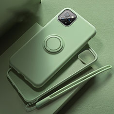 Ultra-thin Silicone Gel Soft Case Cover with Magnetic Finger Ring Stand T02 for Apple iPhone 11 Pro Green