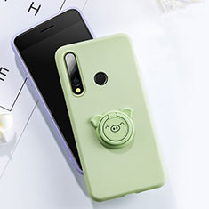 Ultra-thin Silicone Gel Soft Case Cover with Magnetic Finger Ring Stand T02 for Huawei Honor 20E Green