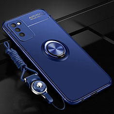 Ultra-thin Silicone Gel Soft Case Cover with Magnetic Finger Ring Stand T02 for Huawei Honor 30 Lite 5G Blue