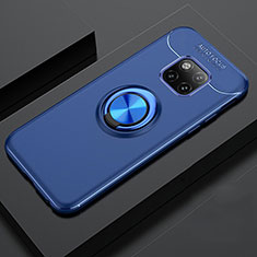 Ultra-thin Silicone Gel Soft Case Cover with Magnetic Finger Ring Stand T02 for Huawei Mate 20 Pro Blue
