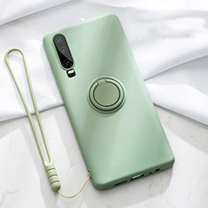 Ultra-thin Silicone Gel Soft Case Cover with Magnetic Finger Ring Stand T02 for Huawei P30 Green