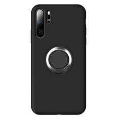 Ultra-thin Silicone Gel Soft Case Cover with Magnetic Finger Ring Stand T02 for Huawei P30 Pro Black