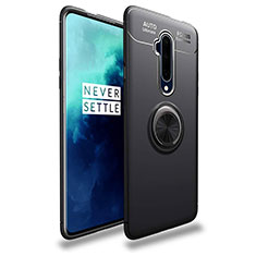 Ultra-thin Silicone Gel Soft Case Cover with Magnetic Finger Ring Stand T02 for OnePlus 7T Pro Black