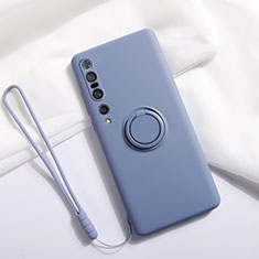 Ultra-thin Silicone Gel Soft Case Cover with Magnetic Finger Ring Stand T02 for Xiaomi Mi 10 Pro Gray