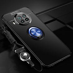 Ultra-thin Silicone Gel Soft Case Cover with Magnetic Finger Ring Stand T02 for Xiaomi Mi 10T Lite 5G Blue and Black