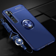 Ultra-thin Silicone Gel Soft Case Cover with Magnetic Finger Ring Stand T02 for Xiaomi Mi Note 10 Blue