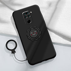 Ultra-thin Silicone Gel Soft Case Cover with Magnetic Finger Ring Stand T02 for Xiaomi Redmi Note 9 Black
