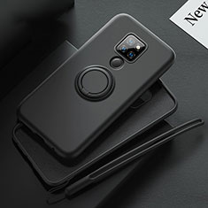 Ultra-thin Silicone Gel Soft Case Cover with Magnetic Finger Ring Stand T03 for Huawei Mate 20 Black