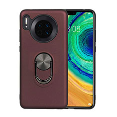 Ultra-thin Silicone Gel Soft Case Cover with Magnetic Finger Ring Stand T03 for Huawei Mate 30 Brown