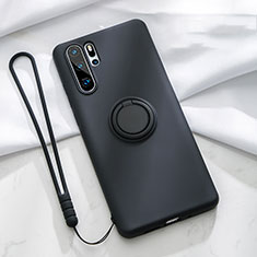 Ultra-thin Silicone Gel Soft Case Cover with Magnetic Finger Ring Stand T03 for Huawei P30 Pro Black