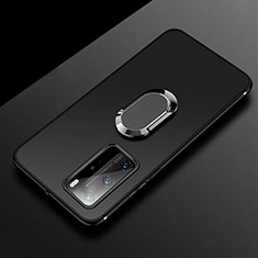 Ultra-thin Silicone Gel Soft Case Cover with Magnetic Finger Ring Stand T03 for Huawei P40 Pro Black