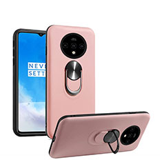 Ultra-thin Silicone Gel Soft Case Cover with Magnetic Finger Ring Stand T03 for OnePlus 7T Rose Gold