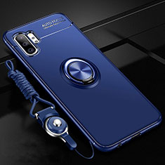 Ultra-thin Silicone Gel Soft Case Cover with Magnetic Finger Ring Stand T03 for Samsung Galaxy Note 10 Plus 5G Blue