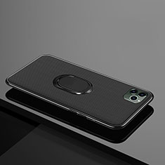 Ultra-thin Silicone Gel Soft Case Cover with Magnetic Finger Ring Stand T04 for Apple iPhone 11 Pro Black