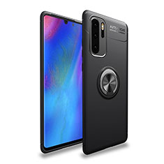 Ultra-thin Silicone Gel Soft Case Cover with Magnetic Finger Ring Stand T04 for Huawei P30 Pro Black
