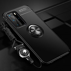 Ultra-thin Silicone Gel Soft Case Cover with Magnetic Finger Ring Stand T04 for Huawei P40 Pro Black