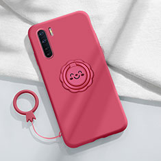 Ultra-thin Silicone Gel Soft Case Cover with Magnetic Finger Ring Stand T04 for Oppo Find X2 Lite Red Wine