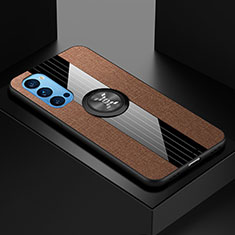 Ultra-thin Silicone Gel Soft Case Cover with Magnetic Finger Ring Stand T04 for Oppo Reno4 5G Brown