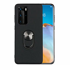 Ultra-thin Silicone Gel Soft Case Cover with Magnetic Finger Ring Stand T05 for Huawei P40 Pro Black