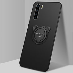 Ultra-thin Silicone Gel Soft Case Cover with Magnetic Finger Ring Stand T05 for Oppo Find X2 Lite Black