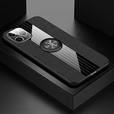 Ultra-thin Silicone Gel Soft Case Cover with Magnetic Finger Ring Stand T06 for Apple iPhone 11 Pro Max Black