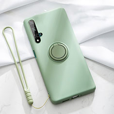 Ultra-thin Silicone Gel Soft Case Cover with Magnetic Finger Ring Stand T06 for Huawei Nova 5T Green