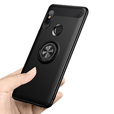 Ultra-thin Silicone Gel Soft Case with Finger Ring Stand A02 for Xiaomi Redmi Note 5 AI Dual Camera Black