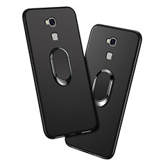 Ultra-thin Silicone Gel Soft Case with Finger Ring Stand for Huawei GR5 Black