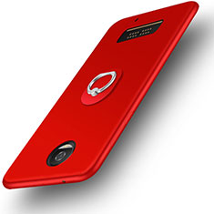 Ultra-thin Silicone Gel Soft Case with Finger Ring Stand for Motorola Moto Z Play Red