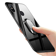 Ultra-thin Silicone Gel Soft Case with Finger Ring Stand for Xiaomi Mi Mix 2S Black