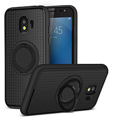 Ultra-thin Silicone Gel Soft Case with Magnetic Finger Ring Stand for Samsung Galaxy J2 Pro (2018) J250F Black