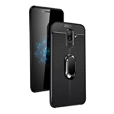 Ultra-thin Silicone Gel Soft Case with Magnetic Finger Ring Stand Q02 for Samsung Galaxy A6 Plus Black