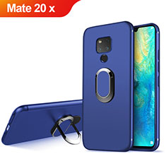 Ultra-thin Silicone TPU Soft Case with Magnetic Finger Ring Stand for Huawei Mate 20 X Blue