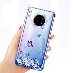 Ultra-thin Transparent Butterfly Soft Case Cover for Huawei Mate 30 Pro 5G Blue