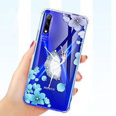 Ultra-thin Transparent Flowers Soft Case Cover for Huawei Honor 9X White