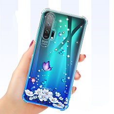 Ultra-thin Transparent Flowers Soft Case Cover K01 for Huawei Honor 20 Pro Blue