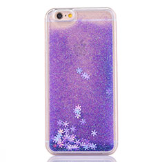 Ultra-thin Transparent Flowers Soft Case Cover T01 for Apple iPhone 6S Purple